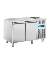 Comptoir réfrigéré central avec évier à droite - 2 portes