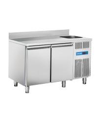 Comptoir réfrigéré adossé avec évier à droite - 2 portes