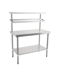 Table inox centrale de préparation avec étagères supérieures - 1800 x 600 x 1500 mm