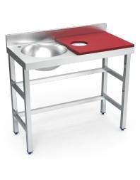 Table de préparation et de lavage inox avec bac à gauche - 1000 x 500 x 850 mm