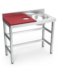 Table de préparation et de lavage avec bac à droite - 1000 x 500 x 850 mm
