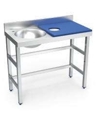 Table de préparation et de lavage inox avec bac à gauche - Bleue- 1000 x 500 x 850 mm