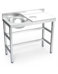 Table de préparation et de lavage inox avec bac à gauche - Blanche - 1000 x 500 x 850 mm