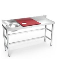 Table de préparation et de lavage inox avec bac à gauche - Rouge - 1500 x 500 x 850 mm