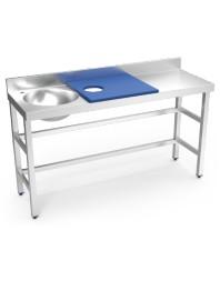 Table de préparation et de lavage inox avec bac à gauche - Bleue - 1500 x 500 x 850 mm