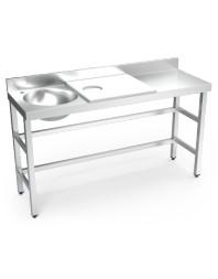 Table de préparation et de lavage inox avec bac à gauche - Blanche - 1500 x 500 x 850 mm