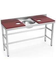 Table de préparation et de lavage avec 2 trous - Rouge - 1500 x 500 x 850 mm
