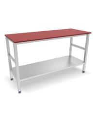 Table avec dessus polyéthylène rouge et étagère basse - 2000 x 600 x 870 mm