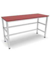 Table avec dessus polyéthylène rouge sans étagère basse - 1500 x 500 x 870 mm