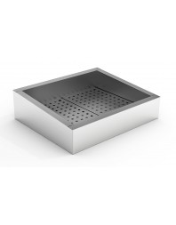 Bac à glace pilée incliné inox poissonnerie - 2/1 GN - 722 x 590 x 160/210 mm
