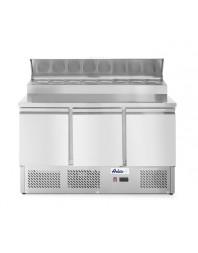 Table réfrigérée positive avec saladette intégrée - 3 portes - bacs GN 1/6 - 380 L