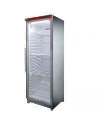 Armoire frigorifique, porte vitrée, ventilée, 400 Lit. acier inox