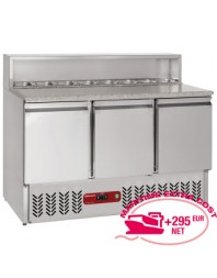 Table de préparation 3 portes GN 1/1, 380 Lit, structure réfrigérée 8x GN1/6-150 mm
