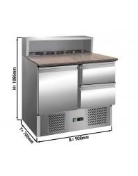 Saladette - 1 porte et 2 tiroirs 1/2 - Capacité 5 GN 1/6 - Premium