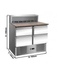 Saladette avec dessus granit - 4 tiroirs 1/2 - Capacité 5 GN 1/6 - Premium