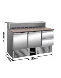 Saladette avec dessus granit - 2 portes et 2 tiroirs - Capacité 8 GN 1/6 - Premium