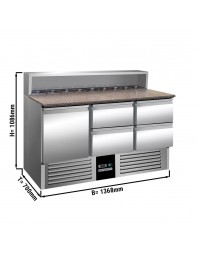 Saladette avec dessus granit - 1 porte et 4 tiroirs - Capacité 8 GN 1/6 - Premium