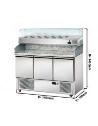Table réfrigérée à pizzas - 3 portes - avec saladette capacité 6 GN 1/4 - AFI