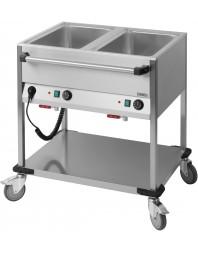 Chariot Bain-Marie à eau 2 x GN 1/1 professionnel Casselin
