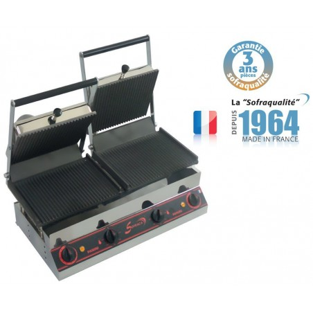 Grill pano double mixte - 1/2 Panini et 1/2 Nordic 400 V plaque inférieure et supérieure mixtes