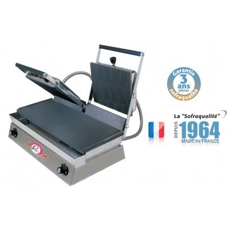 Infra grills duo - Spécial grillades 400 V plaque inférieures mixtes et supérieures rainurée