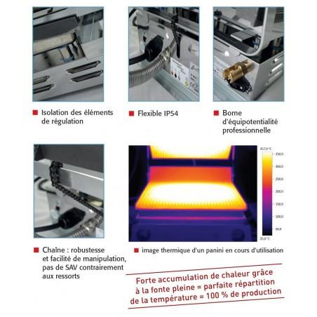 Infra grills duo - Spécial grillades 230 V plaques inférieures lisses et supérieures rainurées