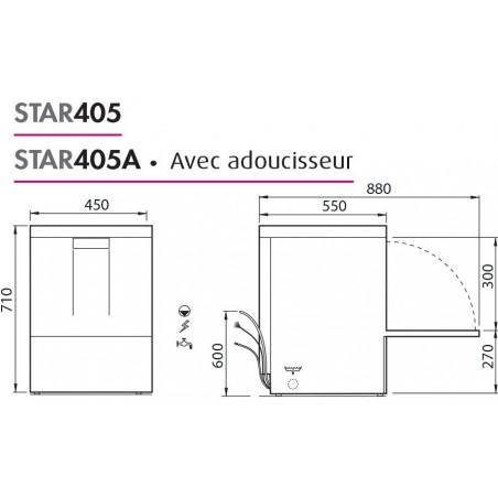 Lave-verres professionnel COLGED de la gamme STARTECH modèle STAR405A avec adoucisseur