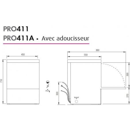 Lave-verres professionnel COLGED de la gamme PROTECH modèle PRO411A avec adoucisseur