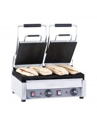 Grill panini professionnel Casselin double premium plaques rainurée-rainurée