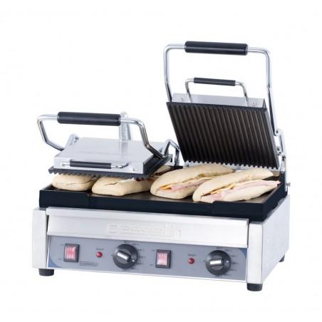 Grill panini professionnel Casselin double premium plaques rainurée-lisse