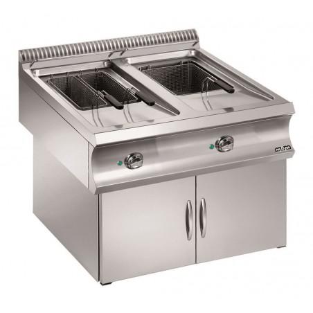 Friteuse professionnelle gaz, sur coffre en version suspendue 2 x 18 litres - MBM - DOMINA 980