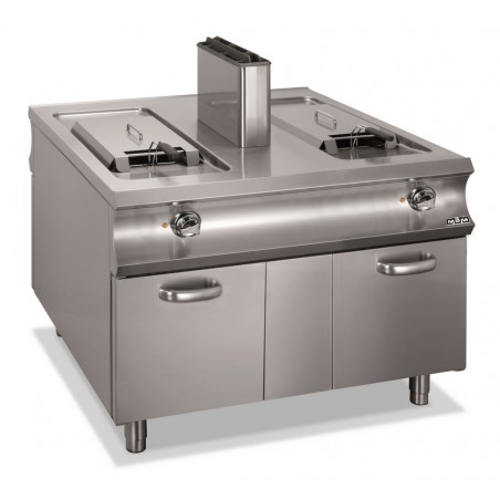 Friteuse professionnelle gaz, 2 cuves 18+18 litres sur placard fermé 2 portes - MBM - DOMINA 1100