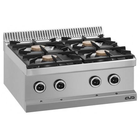 Réchaud à poser - 4 feux vifs - gaz - brûleurs 4 x 7 kW - MBM - MAGISTRA 700