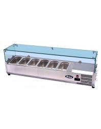Vitrine à ingrédients réfrigérée à poser - bac GN 1/3 x 6 - VRX1400/380