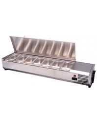 Présentoir à ingrédients réfrigéré couvercle inox à poser - bac GN 1/3 x 4- VRX1200/380I
