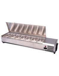 Présentoir à ingrédients réfrigéré couvercle inox à poser - bac GN 1/3 x 6 - VRX1400/380I
