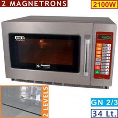 "Four micro-ondes inox GN 2/3 ""Pro Duty"" - 2100 W - 34 litres - DIAMOND"
