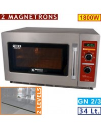 "Four micro-ondes inox GN 2/3 ""Heavy Duty"" - 1800 W - 34 litres - version mécanique DIAMOND"