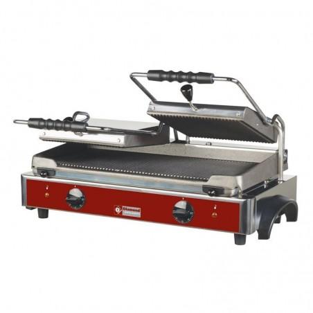 Grill panini électrique avec plaques en fonte rainurées - surface utile 550 x 255 mm - DIAMOND
