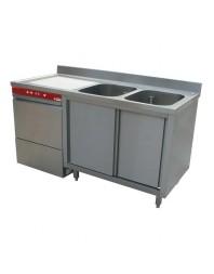 Pack plonge sur armoire à double portes coulissantes + lave-vaisselle incorporé modèle 051D/6M- largeur 1600 mm - DIAMOND