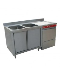 Pack plonge sur armoire à double portes coulissantes + lave-vaisselle incorporé 051D/6M - largeur 1600 mm - DIAMOND