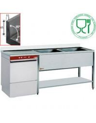 Pack plonge sur pietement + lave-vaisselle incorporé modèle 051D/6M - largeur 1600 mm - DIAMOND