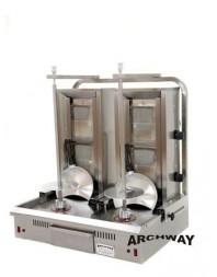 Machine à kebab à double grill - gaz - 2 brûleurs - ARCHWAY
