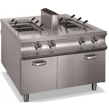 Cuiseur à pâtes professionnel gaz 2 cuves 40+ 40 litres sur placard fermé 2 portes - MBM - DOMINA 1100