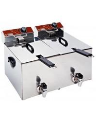 Friteuse de table professionnelle 2 x 8L électrique avec robinet - EF82-KN - DIAMOND