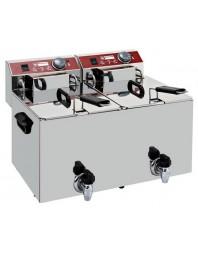 Friteuse à poser professionnelle 2 cuves 2 x 10 L électrique avec robinet de vidange - EF102-TN - DIAMOND