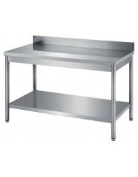 Table de travail adossée avec étagère gastro profondeur 600 - COMBISTEEL