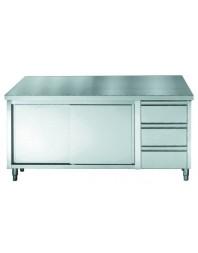 Table de travail avec portes coulissantes et 3 tiroirs - profondeur 700 hauteur 850/900 mm - COMBISTEEL