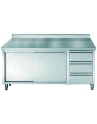 Table de travail avec dosseret, portes coulissantes et 3 tiroirs - profondeur 700 hauteur 850/900 mm - COMBISTEEL