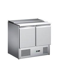 Saladette réfrigérée inox - 2 portes + couvercle télescopique -bacs GN 1/1 - AFI